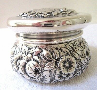 Big Antique Victorian Sterling Silver Dresser Powder Jar Vanity Repousse Floral