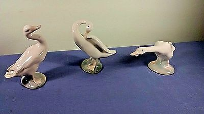 Set of 3 Porcelain Lladro Geese Glossy Finish Signed #4551, 4552, 4553