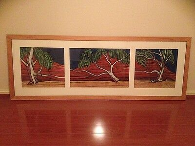 Original framed Pastel on Paper * RIVER RED GUMS & GORGE : MUTAWINTJI * TRIPTYCH