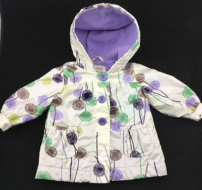 Old Navy Girls Hooded Zip Up Spring Rain Jacket Floral Lined Size 12-18 Months