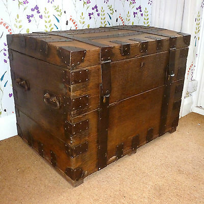 MASSIVE OAK Victorian Iron Bound Silver Chest Trunk VERY LARGE & HEAVY Antique