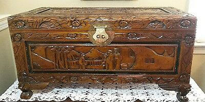 Vintage Wood Carved Asian Camphor Chest 27 1/2""