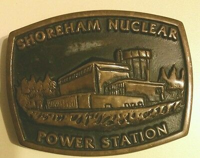 Vintage Shoreham Nuclear Power Station NY Brass Belt Buckle 1983