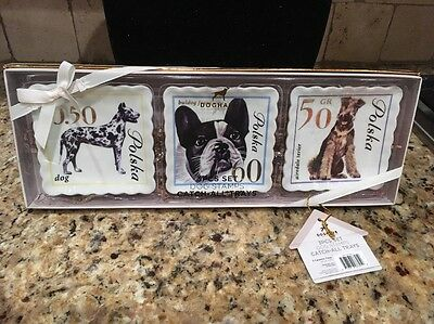DogHaus Three Ceramic Catch-All Trays POLAND DOG STAMPS Bulldog Airedale Terrier