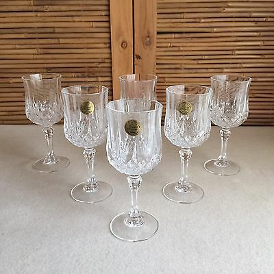 SET 6X Vintage CRISTAL D'ARQUES Longchamp DIAMOND Pattern CRYSTAL Wine GLASSES
