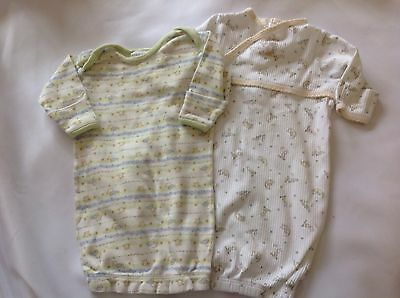 2 Unisex Boy Girl Sleeper Gowns One Size 0-3 months Yellow White Green