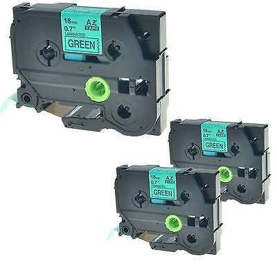 """3PK TZ741 TZe741 Black on Green Label Tape for Brother P-touch PT-2400 18mm 3/4"""""""
