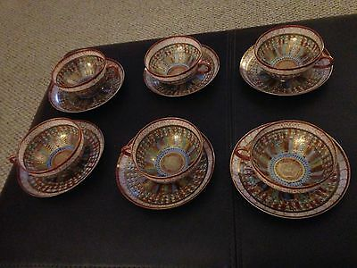 Japanese Kutani Thousand Faces Tea Cup & Saucer Meiji 19thC Signed 6 piece set