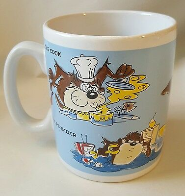 Large 1997 Warner Bros Taz The Tazmanian Devil Super Dad Coffee Mug Father's Day