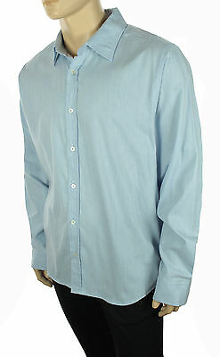 New The Mens Store Bloomingdales Blue Cotton Cashemire Button Front Shirt Xxl