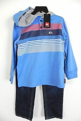 New Nwt Boys Size 6 Quiksilver 2 Piece Set Jeans & Long Sleeve Hoodie Shirt Blue