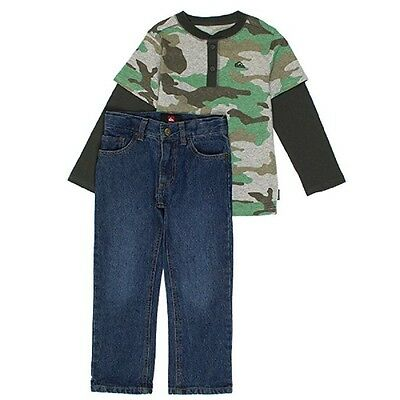 New Boys Size 5 Quiksilver 2 Piece Outfit Set Jeans & Long Sleeve Shirt Camo