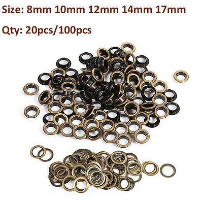 8/10/12/14/17mm Brass Eyelets Shoes Clothes Crafts Belts Bags Leather Fabric SG