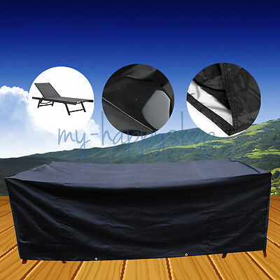 Waterproof Sunbath Sun Lounger Bed Cover Patio Beach Garden Furniture Protection