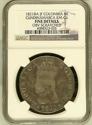 1821Ba Jf Columbia 8 Reales Km#c6 Ngc F Details