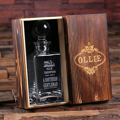 Personalised Whiskey Decanter with Round Bottle Lid