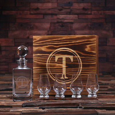 Personalised Whisky Decanter w/ Round Bottle Lid, Whisky Snifters & Wood Box