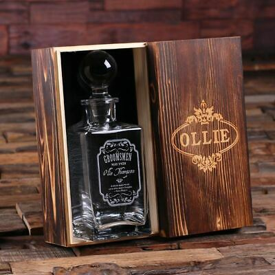 Bespoke Glass Whisky Decanter w/ Round Bottle Lid - Perfect Groomsmen Usher Gift