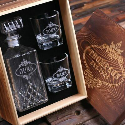 Personalised Whiskey Decanter with 2 Whiskey Glasses