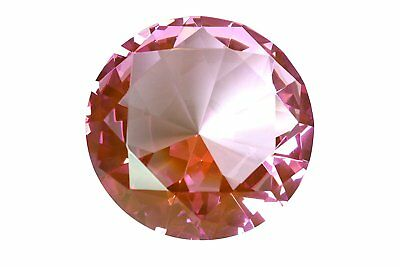 Tripact 100mm Pink Crystal Diamond Jewel Paperweight 4 Inch
