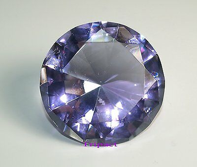 Tripact Lavender Diamond Crystal 80mm Crystal Jewel Glass Paperweight 3.25 Inch
