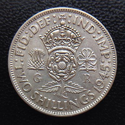 King George Vi 1945 One Florin Coin .500 Silver Great Britain Uk