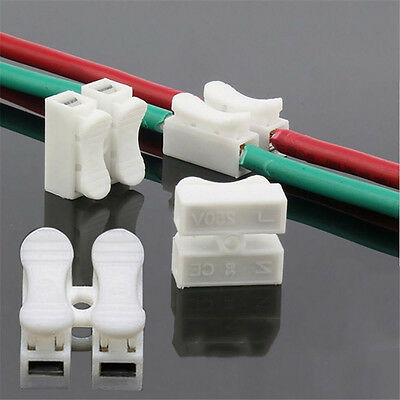30Pcs 2Pin Electrical Cable Connectors Wire Terminals Quick Splice Self Locking