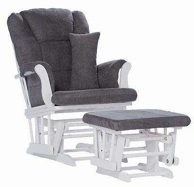 Stork Craft Tuscany Custom Glider and Ottoman with Lumbar Pillow White/Grey