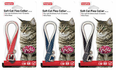 Beaphar Sparkle Reflective Cat Kitten Flea Collar 4 Months Blue Black Red 17788