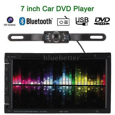 Double 2 DIN HD Car DVD/USB/SD Player Bluetooth FM Radio Aux In With Camera D5Q2