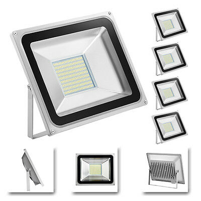 5x 100W Cool White SMD LED Flood Light Outdoor Garden Work Wall Lamp 220V-240V