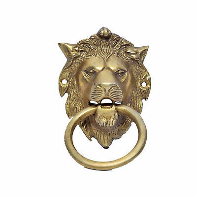 Antique Vintage Solid Brass Lion Head Home Door Knocker Bell Antique Art MPC0028