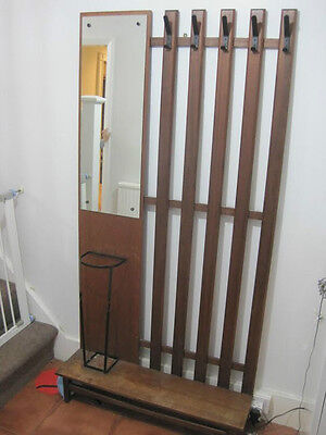 Antique style coat stand with mirror and umbrella storage