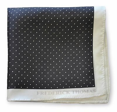 Frederick Thomas black & white pin spotted pocket square handkerchief FT3355