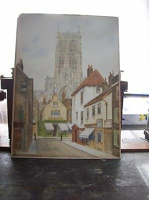 Fine Architectural Watercolour Drawing  19C Street Scene With Cathedral Church