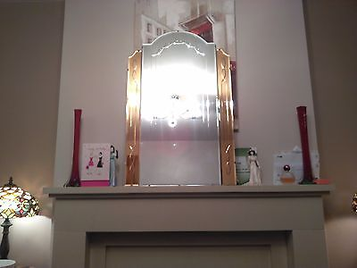 Large Art Deco Frameless Wall Mirror