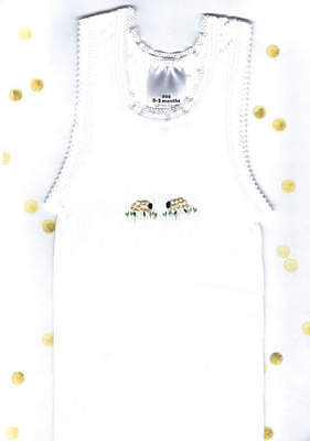 Hand Embroidered Baby White Sheep Singlet Size 0000