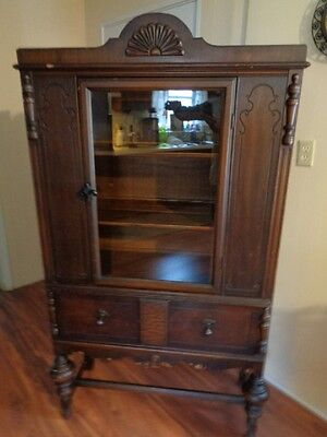 Antique Late 1800's Early 1900's Curio China Cabinet Press