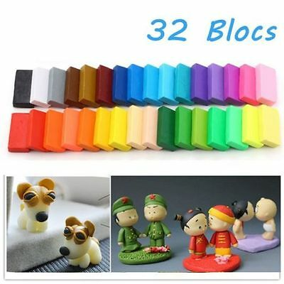 32pcs DIY Craft Malleable Fimo Polymer Modelling Soft Clay Block Plasticine XP