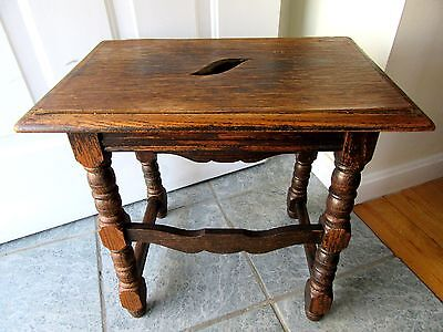Antique Oak Joint Stool Table Carved Jacobean Wood 1900 Coffin Primitive Country