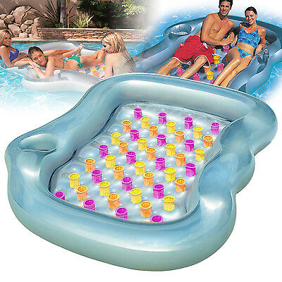 Double Inflatable Swimming Pool Lounger Float Water Lilo Designer Multi-Colour