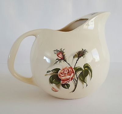 """Universal Cambridge Ball Pitcher Union Made Rose Pattern Made in USA 8"""" Vintage"""
