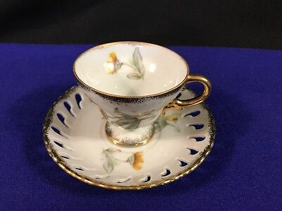 Footed Demitasse Tea Cup & Laced Edge Saucer W/Gold Trim & Yellow Flower