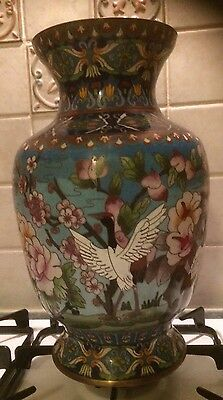 Vintage Antique Fine Chinese Cloisonne Pair Of Large Vases / Lamp Bases