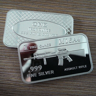 "1 Troy oz .999 Fine silver Bullion bar. ""M16 A4 Assault Rifle"" design. M16A4"