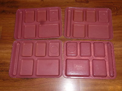 Lot of 4 Cafeteria divided compartment School Lunch Trays large Cambro Camtray