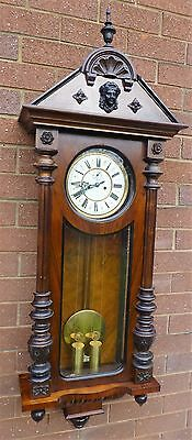 Vienna Wall Clock Gustav Becker by Twin Weighted Cleaned, Serviced
