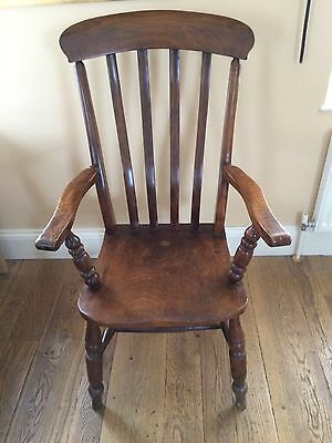Stunning Antique Windsor Chair Elm Lathe Back Chair Victorian 19th Century