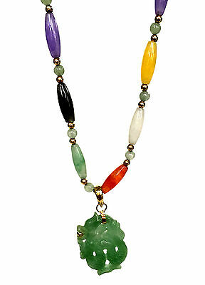 CHINESE JADE Multi-Colored Beaded 14k Gold Dragon Necklace White Black Lavender