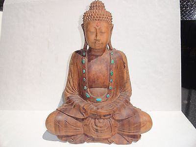 Chinese Buddha Wood Statue With Inlade Stones Old and Heavy